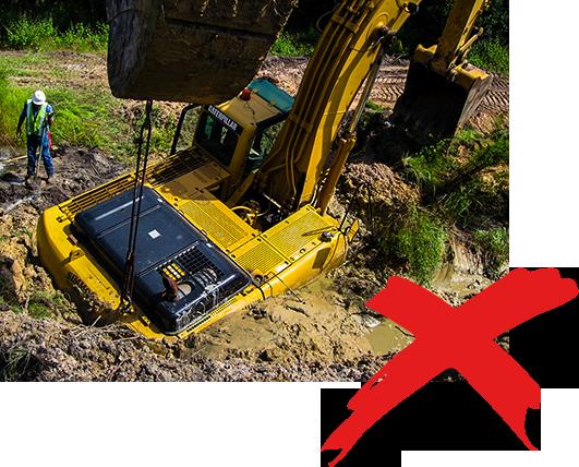 excavator sink in wetland