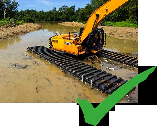 Amphibious excavator float on wetland